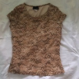 Brittany Black Brown short sleeve top with designs